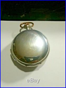 EROTIC POCKET WATCH REPEATER DIAMETER 55mm. SILVER CASE SEE VIDEOS OF TWO LINKS