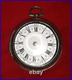 Early18th Century Repousse Silver Pair Case Pocket Watch. Chatery, Eng. C1740
