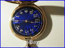Elgin 0 size 15 jewels fancy blue dial (1901) 14K. Gold filled hunter case