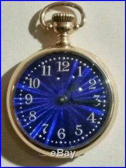 Elgin 0 size 7 jewels fancy cobalt blue dial (1895) 14K. Gold filled case