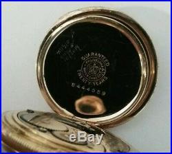 Elgin 0 size 7 jewels fancy dial (1908) grade 320 14K. Gold filled hunter case