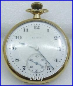 Elgin 14K Solid Gold 17 Jewels Pocket Watch Casing Size 43.50mm Free Shipping