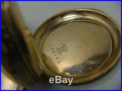 Elgin 14k Solid Yellow Gold Pocket Watch Fancy Dial 6s Hunter Guilloche Case