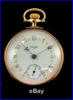 Elgin 18 Size 17 Jewel Pocket watch Fancy Dial Fancy and Case Fine Condition