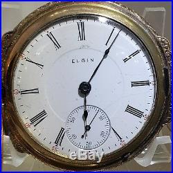 Elgin Box hinge 18s 90% MINT ENGRAVE CASE DEER YGF can be cut for N Howard