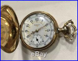 Elgin Hunter Case Real Solid 14K Yellow Gold Pocket Watch Serial# 13428256 33g