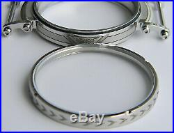 Engraved Wristwatch Cases With Top Sapphire Crystals For Pocket Watch Movements