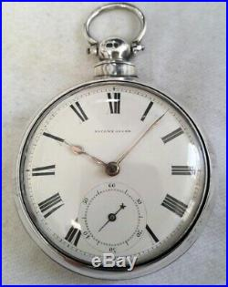 Fusee Pair case Pocket watch. BIG HEAVY Silver! (FULL WORKING ORDER) 1851