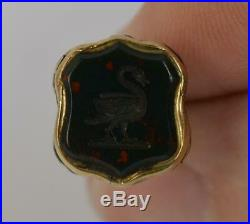 Georgian Gold Cased & Bloodstone Pocket Watch Fob Pendant with Swan t0425