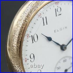 Gold 1911 ELGIN 15 Jewel Mechanical Pocket Watch Grade 313 Large Fancy Case