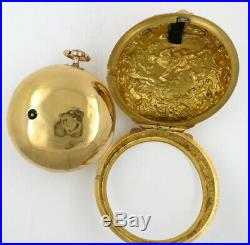 Gold pocket watch, repousse pair cases, champleve dial Kipling, London, 1727