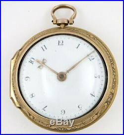 Gold repousse pair cased pocket watch, verge William West, London, 1769