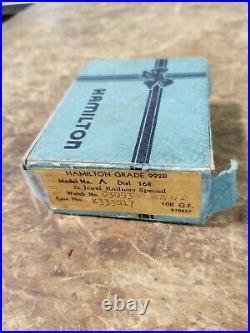 HAMILTON RAILWAY SPECIAL 992 B POCKET WATCH 10K GF 21 JEWELS With Box and Case