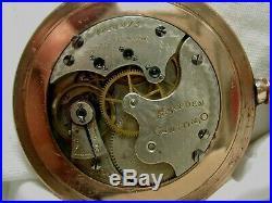 HAMPDEN POCKET WATCH 6s G/F OPEN FACE RARE CASE SUPERB COND 11-J / MDL-1 RUNS