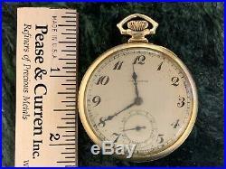 Hamilton 12S 17J 14 Kt Solid Gold Masonic Case Model 912 Pocket Watch Running