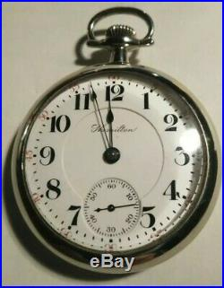 Hamilton 21 jewel adjusted 18S. High Grade 940 (Jun 1st. 1907) silveroid case