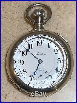 Hamilton 944 18s 19j RR Pocket watch 5 Oz. Coin Silver case Xtra-Fine condition