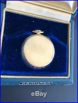 Hamilton Packard 10 yr 14k Solid Gold Pocket Watch with Original Box double case