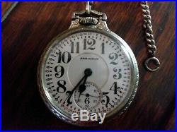 Hamilton Railroad Pocket Watch 992 21Jewel 14K WGF Case WithSimmons chain! Running