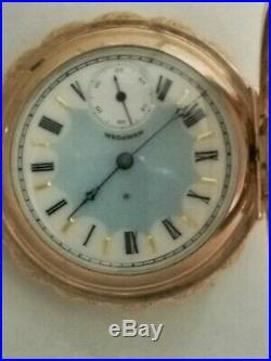 Hampden 6S. 15 jewels fancy dial (1896) 14K gold filled pie crust hunter case