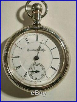 Hampden RAILWAY (1887) 18S. 15 jewels adj. Railroad pocket watch nickel case