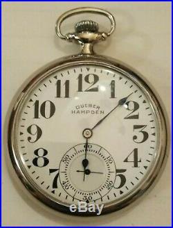 Hampden grade No. 120 16S. 21 jewels adjusted bridge movement (1917) nickel case