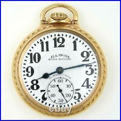Illinois Bunn Special 163 23J Railroad Pocket Watch With Model 29 Case RUNS