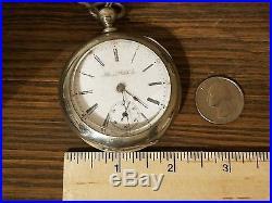 Illinois Watch company Key Wind Pocket Watch 18s Nickel Silver Case made 1887