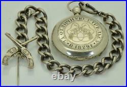 Imperial Russian Officer's award silver full hunter case H. Huguenin pocket watch