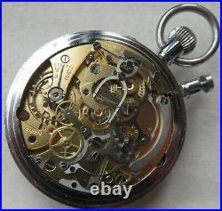Lemania Chronograph Split Seconds Rattrapante Pocket Watch Steel Case