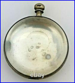 London Silver Verge Pocket Watch Innter Case Empty With Bullseye Glass (K27)