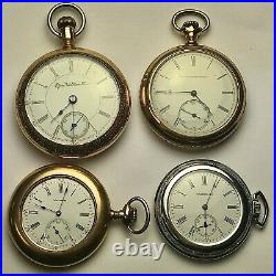 Lot 4 American Pocket Watches, 3 in Gold-Filled Cases, Elgin & Waltham, Running