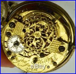 MUSEUM Renaissance Verge Fusee Repousse silver pair case watch by T. Miller, c1762
