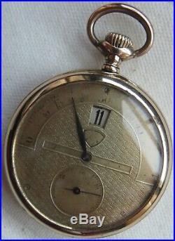 Modernista Saltarello Jump Hour pocket watch open face gold filled case