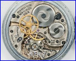 NICE Hamilton 16s 22j Adjusted 4992B G. C. T. Pocket Watch in Keystone Case! Runs