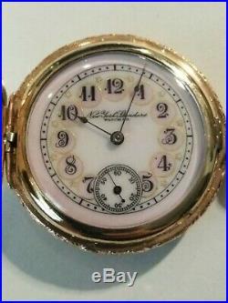 New York standard (1899) 6S. Fancy dial 7 jewels 10K. Gold filled hunter case