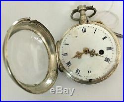 Nice fusee pocket watch circa 1730 solid silver case