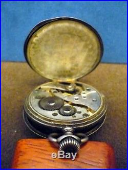 Old Silver Hunter-case watch with attractive engraved decoration in niello