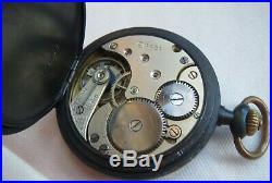 Omega pocket watch gun hunter case 51 mm. In diameter enamel dial