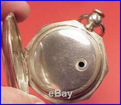 Original 1857 EAGLE COIN SILVER 8 SIDES KEYWIND CASE 18 SIZE EMPTY POCKET WATCH