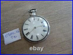 QUALITY ANTIQUE GENTS PAIR CASED SILVER FUSEE POCKET WATCH DATES c1817