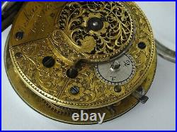 RARE ANTIQUE ENGLISH SILVER CONSULAR CASED VERGE FUSEE POCKET WATCH LONDON c1859