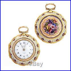 Rare 18k Gold Enameled Triple Case Edward Prior Womens Pocket Watch