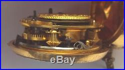 Rare Amazing Leather Outer Gilt Verge Fusee P/case Watch Tulip Pillars Working