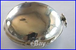 Rare Antique Silver Pair Case Verge Fusee Champleve Dial Pocket Watch 1741