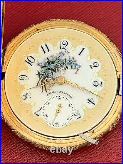 Rare Fancy Dial American Waltham 15 Jewel 18 Size Hunting Case Pocket Watch