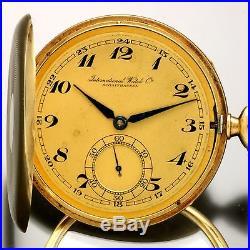 Rare IWC Gold Pocket Watch 14K Yellow Gold Hunter Case CA1901