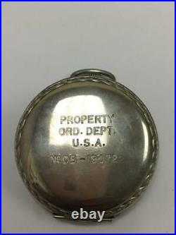 Rare Military Issued & Signed Elgin 16s Pocket Watch With Original Rubber Case M
