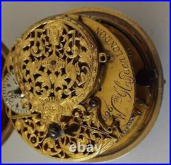 Rare Near Mint Size Oignon Shagreen P/cased Watch Champleve Verge Fusee C1729