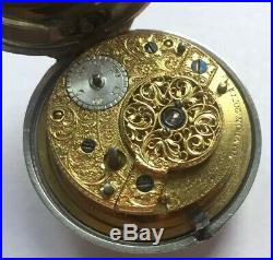 Rare Pair Cased Sterling Silver Fusee Cylinder Pocket Watch Fra. Perrigal 1804